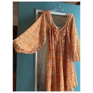 Angel Sleeve Autumn Floral Dress By Sacred Hawk